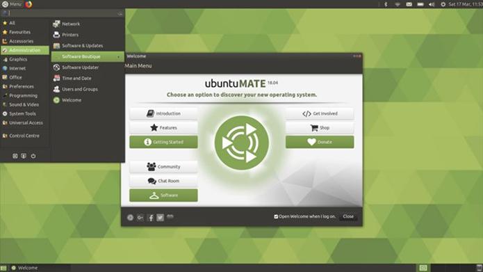 """novidades do futuro ubuntu mate 18 04 lts novo layout - Ubuntu MATE 18.04 LTS usará um novo layout padrão chamado """"Familiar"""""""
