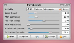 Como instalar o reprodutor Play it Slowly no Linux via Flatpak