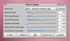 Como instalar o reprodutor Play it Slowly no Linux via Flatpak