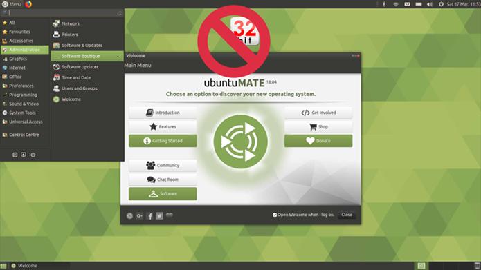 O Ubuntu MATE abandonará o suporte a 32 bits a partir da versão 18.10