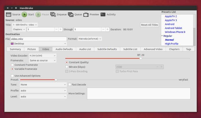 Como instalar o conversor multimídia HandBrake no Linux
