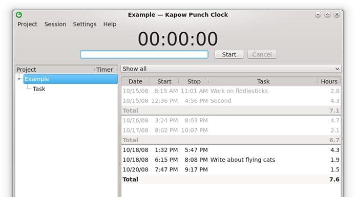 Como instalar o app Kapow Punch Clock no Linux via Flatpak