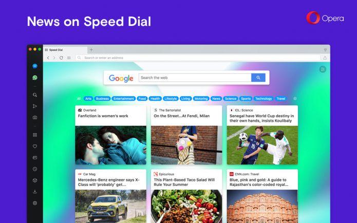 Opera 54 lançado com feed de notícias no Speed Dial e mais
