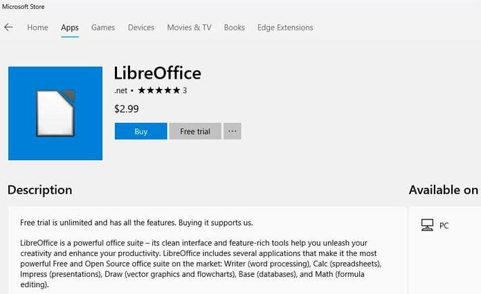 Alguém está vendendo o LibreOffice na Microsoft Store! Não compre!