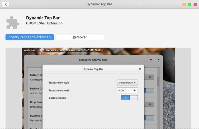 Como alterar o nível de transparência do painel superior no Ubuntu 18.04 ou superior