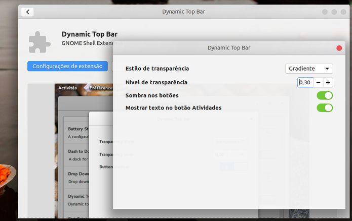 Como mudar o nível de transparência do painel superior no Ubuntu 18.04