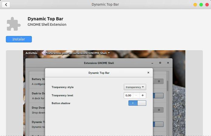 Como modificar o nível de transparência do painel superior no Ubuntu 18.04