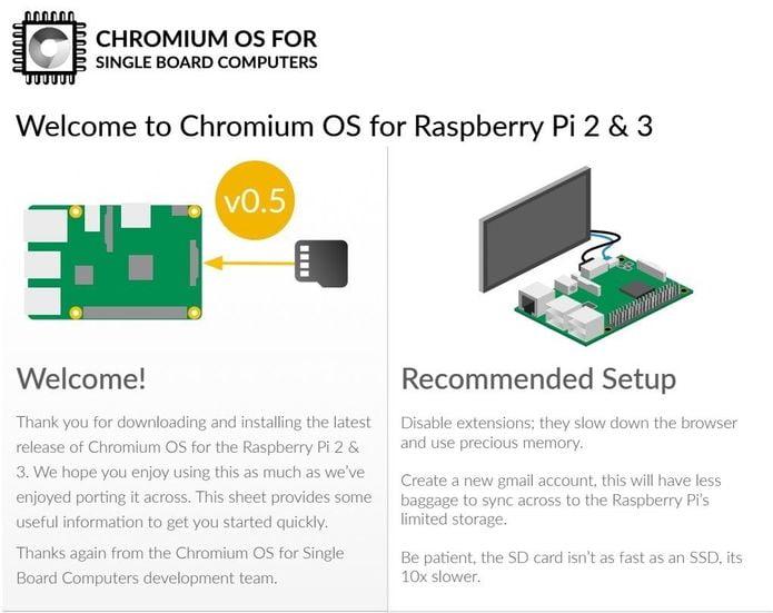 Chromium OS for SBCs e Raspberry Pi está voltando em breve