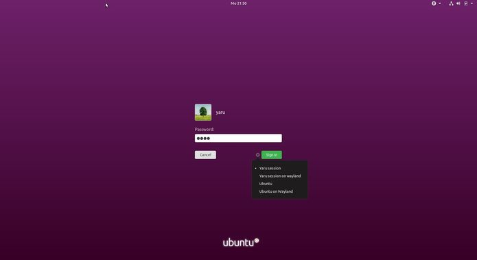 tela de login do ubuntu 18 10 com o tema yaru 2 - Canonical quer levar aplicações Electron para milhões de usuários de Linux