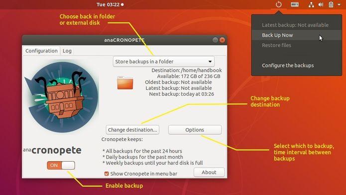 Como instalar o app Cronopete e ter um Time Machine no Linux