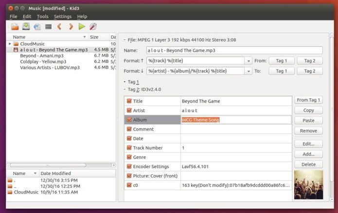 editor de tags de áudio Kid3 3.6.2 lançado com várias correção de bugs