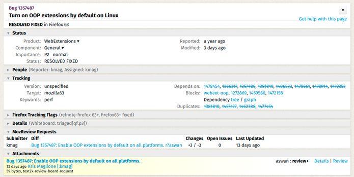 Firefox 63 executará extensões como um processo separado do navegador