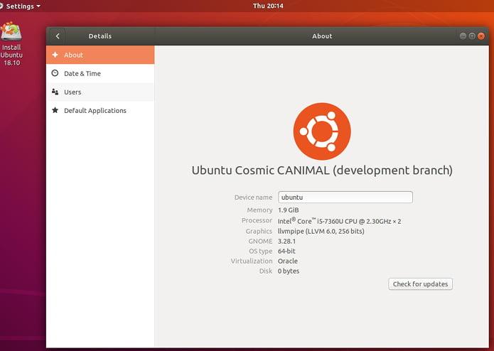 Ubuntu 18.10 entrou em freeze ou congelamento de recursos
