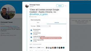 Chrome 69 não exclui cookies do Google ao limpar todos os dados do site