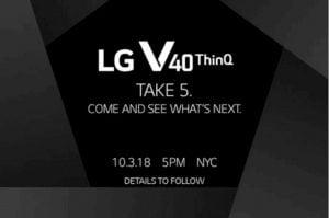 LG V40 ThinQ de cinco câmeras será lançado no dia 3 de outubro