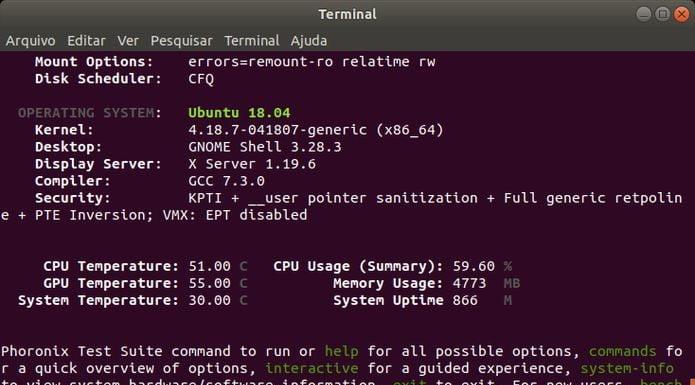 Como instalar o Phoronix Test Suite no Ubuntu, Debian e derivados
