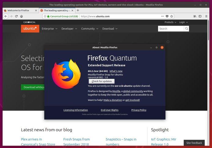 Firefox ESR 60 já está disponível no como um snap