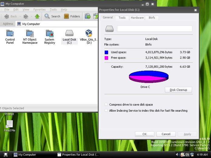 ReactOS 0.4.10 lançado com suporte a inicialização por unidades Btrfs