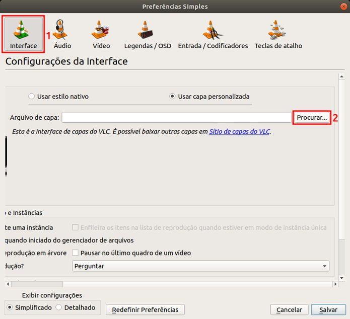clique na guia Interface
