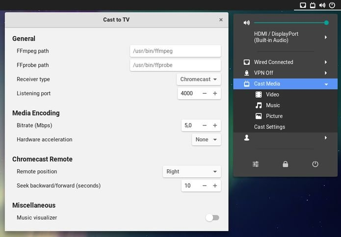 Como transmitir mídia do Gnome para o Chromecast com o Cast to TV