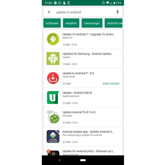 Apps falsos prometem atualizações para o Android mais recente