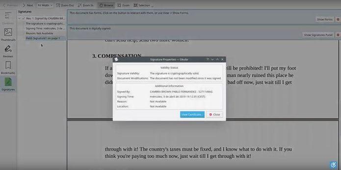 Okular permitirá mostrar e verificar assinaturas em PDF no KDE Applications 19.04