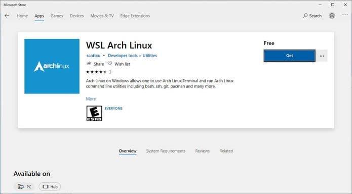 Arch Linux for WSL agora está disponível na Microsoft Store