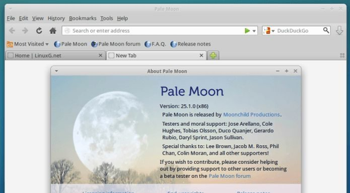 Como instalar o navegador web Pale Moon no Ubuntu 19.04 e derivados