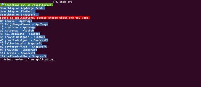 Como pesquisar pacotes AppImage, Flatpak e Snap com Chob no terminal