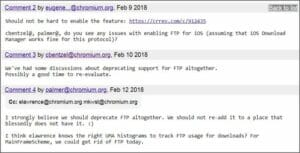 Google começou a remover o suporte a FTP do Chrome