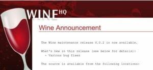 Wine 4.0.2 estável lançado com 66 correções de bugs