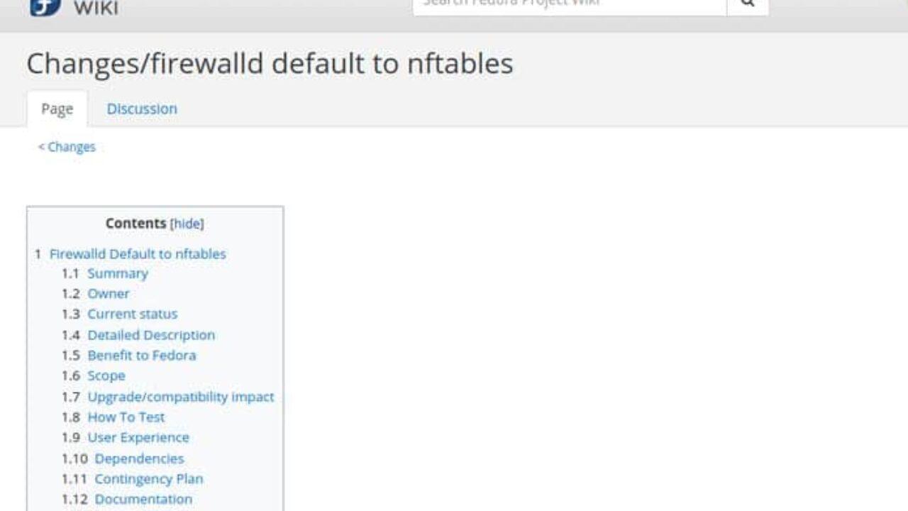 Fedora 32 planeja mudar para o back-end Iptables Nftables