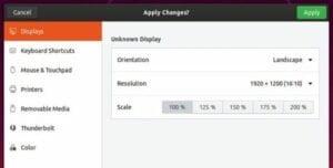 Como ativar o dimensionamento fracionário no Ubuntu 19.10