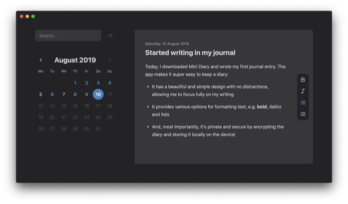 Como instalar o app de diário Mini Diary no Linux via Snap