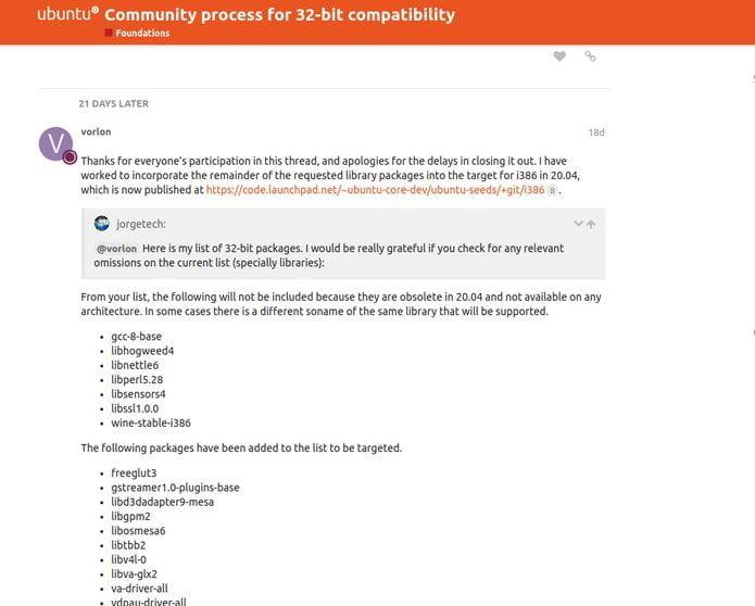 Confira a estratégia de suporte a 32 bits para o Ubuntu 20.04 LTS
