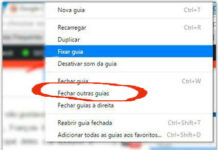 Opção 'Fechar outras guias' no Google Chrome voltando ao navegador
