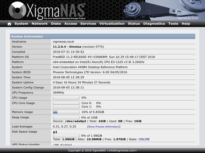 XigmaNAS 12.1.0.4 lançado com a base FreeBSD atualizada para o FreeBSD 12.1