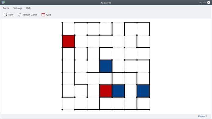 Como instalar o divertido jogo KSquares no Linux via Snap