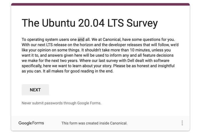Ubuntu 20.04 LTS Survey lançada - Ajude a melhorar o Ubuntu