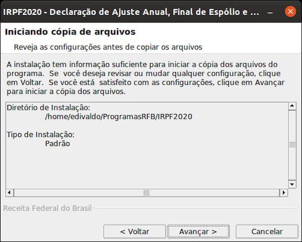 Como instalar o programa IRPF2020 no Linux via arquivo BIN