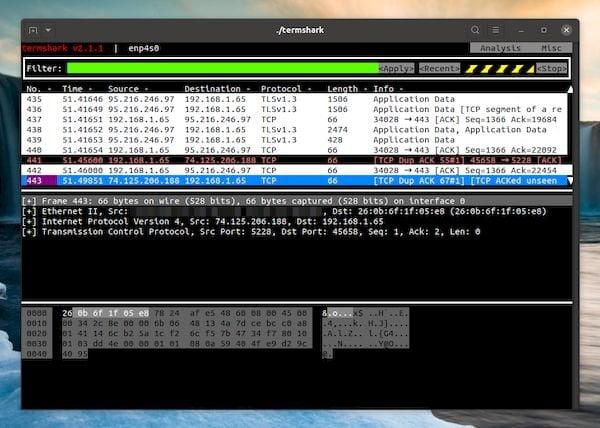 Termshark 2.1 lançado com suporte para interfaces extcap