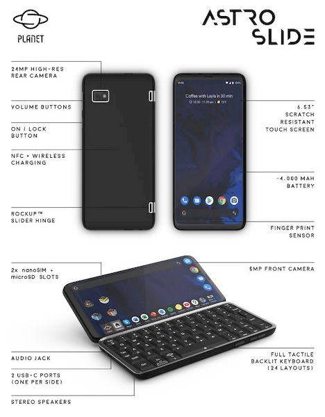 Astro Slide é um celular 5G com Linux e teclado físico... Quase um laptop!