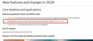 Kubuntu 20.04 substituiu o KMail pelo Thunderbird