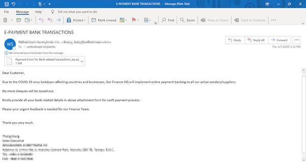 Microsoft alertou para phishing COVID-19 que espalha malware de informações roubadas