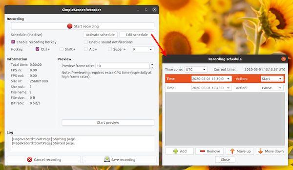 Simple Screen Recorder 0.4.1 lançado com programação de gravação