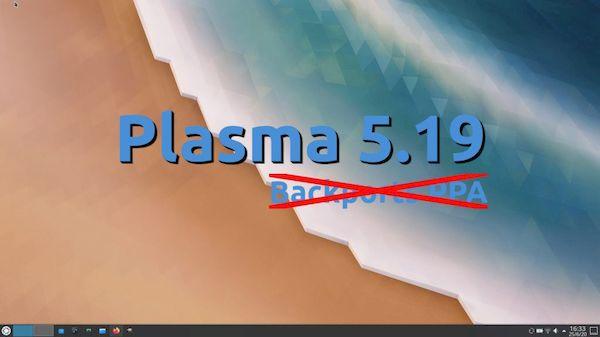 KDE Plasma 5.19 não chegará ao repositório do KDE Backports