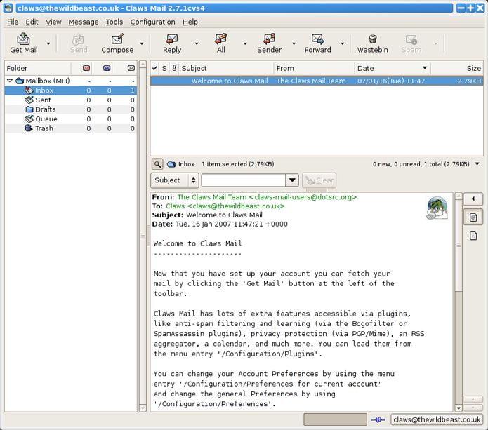 Claws Mail 3.17.6 lançado com mais opções de privacidade e aviso de URL de phishing