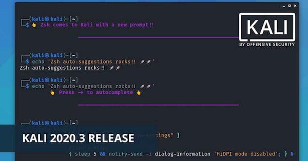 Kali Linux 2020.3 lançado com mudança inicial para ZSH Shell e mais