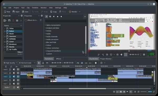 Kdenlive terá espaços de trabalho a partir da versão 20.08! Entenda!