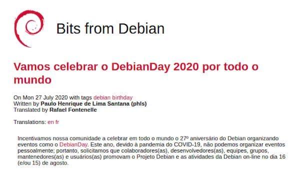 Projeto Debian completou 27 anos no dia 16/08! Comemore!